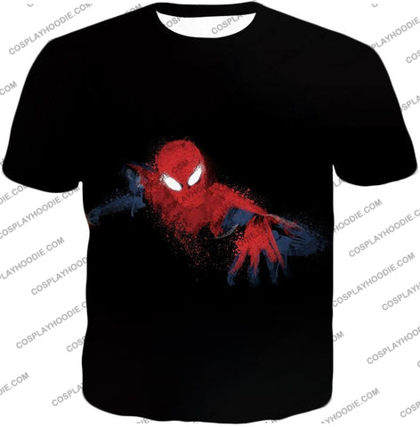 Image of Awesome Hero Spiderman Faded Print Black T-Shirt Sp099 / Us Xxs (Asian Xs)