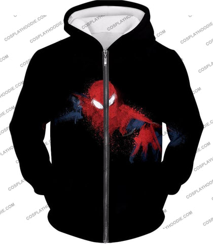 Image of Awesome Hero Spiderman Faded Print Black T-Shirt Sp099 Zip Up Hoodie / Us Xxs (Asian Xs)