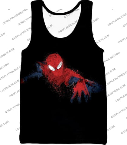 Image of Awesome Hero Spiderman Faded Print Black T-Shirt Sp099 Tank Top / Us Xxs (Asian Xs)