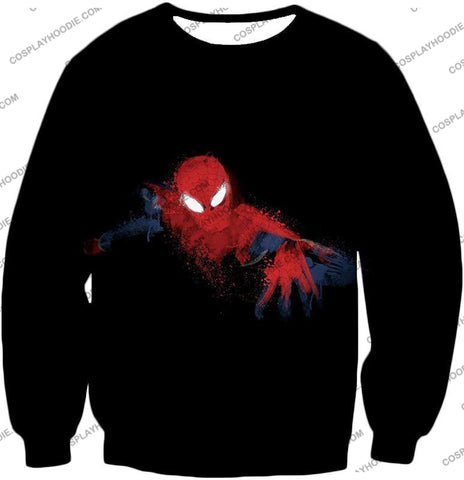 Image of Awesome Hero Spiderman Faded Print Black T-Shirt Sp099 Sweatshirt / Us Xxs (Asian Xs)