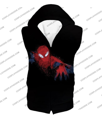 Image of Awesome Hero Spiderman Faded Print Black T-Shirt Sp099 Hooded Tank Top / Us Xxs (Asian Xs)