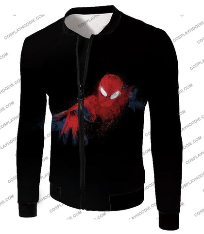 Image of Awesome Hero Spiderman Faded Print Black T-Shirt Sp099 Jacket / Us Xxs (Asian Xs)