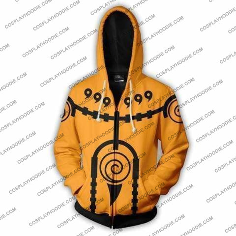 Naruto Nine Tails Charka Mode Zip Up Hoodie Jacket Cosplay