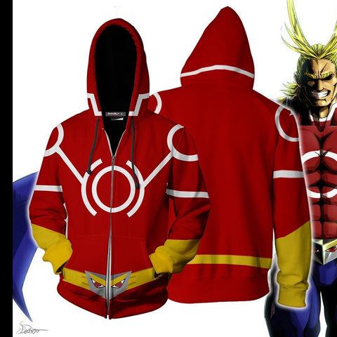 Image of Boku No Hero Academia All Mighty Hoodie Cosplay Jacket Zip Up / Us Xs (Asian S)