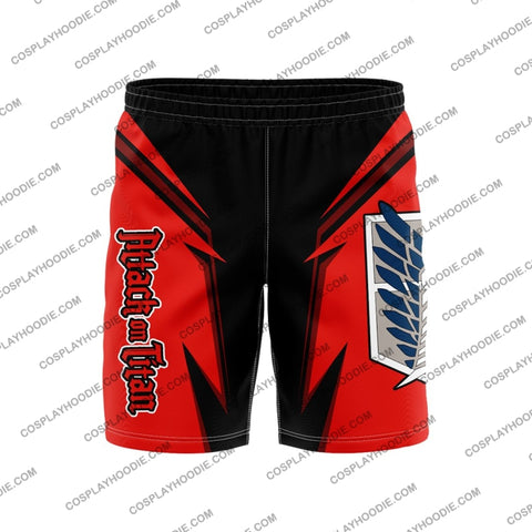 Attack On Titan Board Short Red Shorts