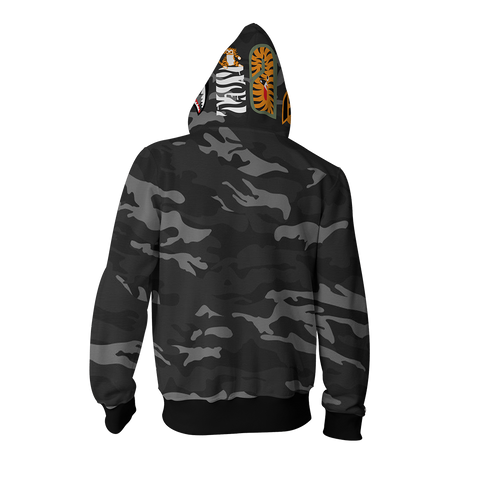 Image of Camo Shark Bts Cheap Moment Zip Up Hoodie Cosplay Jacket
