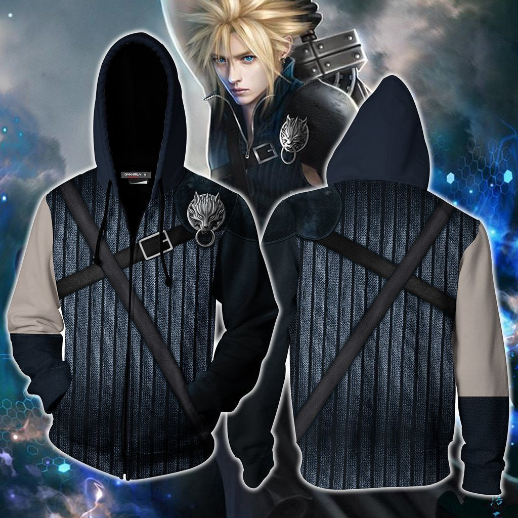 Final Fantasy Vii Cloud Strife Hoodie Cosplay Jacket Zip Up