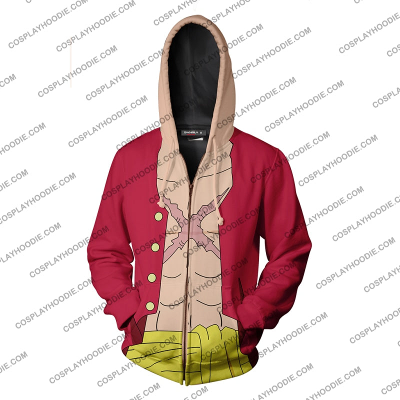 One Piece Monkey D. Luffy Hoodie Cosplay Jacket Zip Up