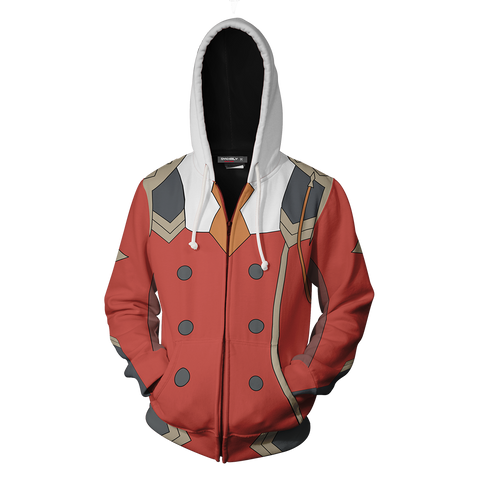 Darling In The Franxx Zero Two Hoodie Cosplay Jacket Zip Up