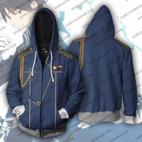 Fullmetal Alchemist Roy Mustang Zip Up Hoodie Jacket Cosplay