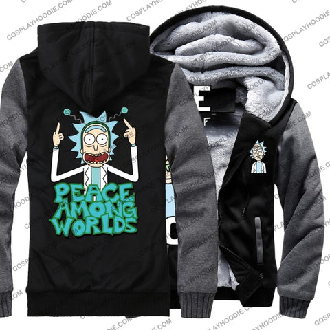 Rick And Morty Peace Among Worlds Fleece Winter Hoodie Jacket Color2 / M