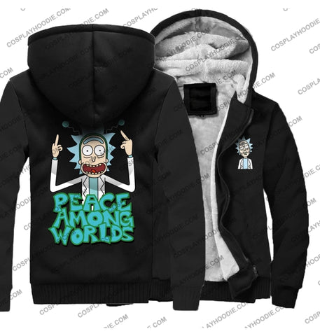Rick And Morty Peace Among Worlds Fleece Winter Hoodie Jacket Color3 / M
