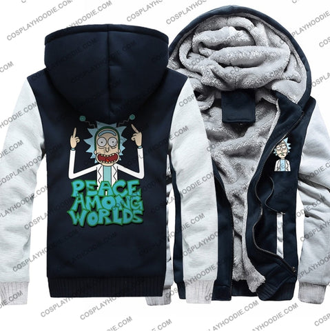 Rick And Morty Peace Among Worlds Fleece Winter Hoodie Jacket Color4 / M