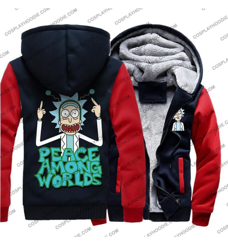 Rick And Morty Peace Among Worlds Fleece Winter Hoodie Jacket Color1 / M