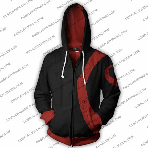 Image of God Of War Kratos Zip Up Hoodie Black Jacket Cosplay