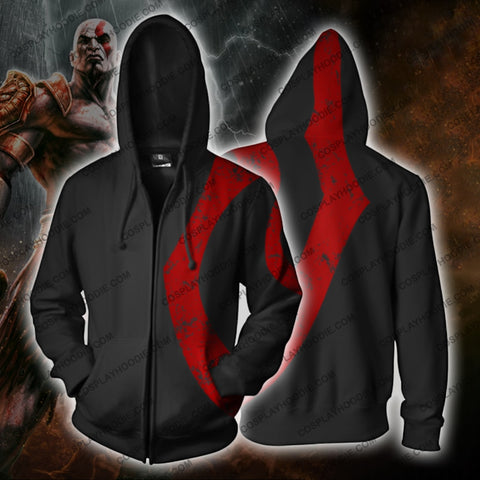 God Of War Kratos Zip Up Hoodie Jacket Balck Cosplay