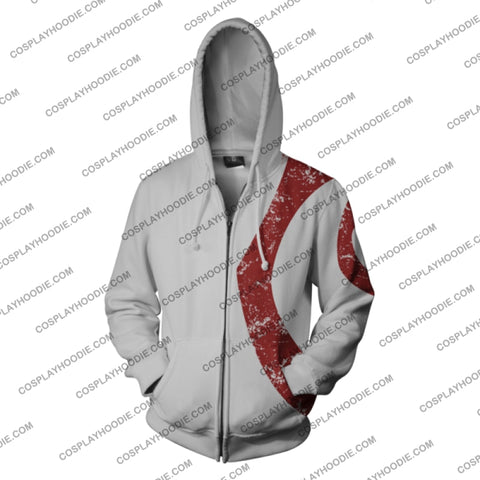 God Of War Kratos Zip Up Hoodie White Jacket Cosplay