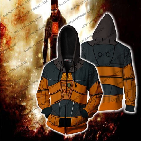 Half-Life Gordon Freeman Hoodie Cosplay Jacket Zip Up