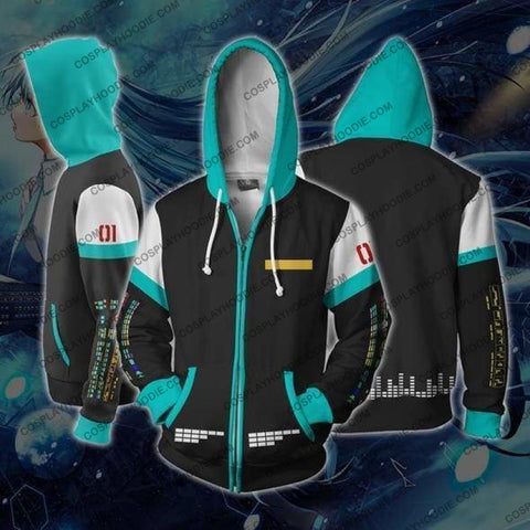 Image of Hatsune Miku Anime Zip Up Hoodie Jacket Cosplay