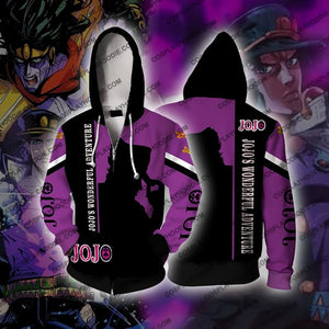 Jojos Bizare Adventure Kujo Jotaro Purple Cosplay Hoodie Jacket