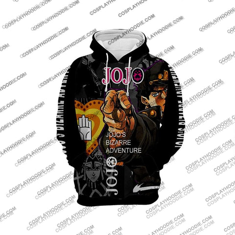 Image of Jojos Bizarre Adventure Kujo Jotaro Black Cosplay Hoodie Jacket