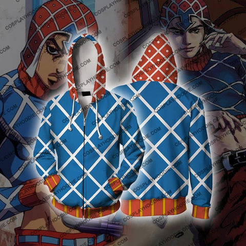 Jojos Bizzare Adventure Golden Wind Guido Mista Cosplay Hoodie Jacket Zip Up / Us Xs (Asian S)