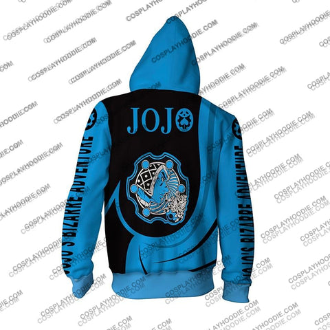 Image of Jojos Bizzare Adventure Golden Wind Guido Mista Blue Cosplay Hoodie Jacket