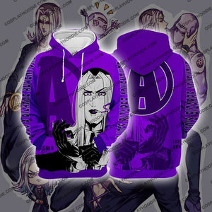 Jojos Bizzare Adventure Golden Wind Leone Abbacchio Purple Cosplay Hoodie Jacket
