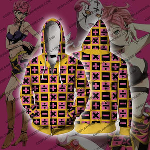 Jojos Bizzare Adventure Golden Wind Trish Una Cosplay Hoodie Jacket Zip Up / Us Xs (Asian S)