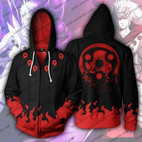 Naruto Madara Mangekyou Zip Up Hoodie Jacket Cosplay
