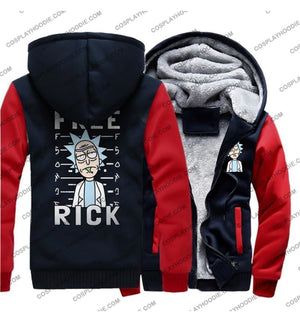 Rick And Morty Print Fleece Winter Hoodie Jacket Color1 / M