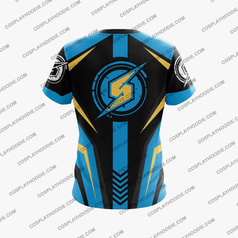 Metroid Samus Aran Blue And Golden Cosplay T-Shirt T-Shirt