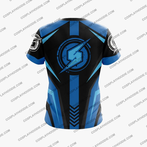 Image of Metroid Samus Aran Blue Cosplay T-Shirt T-Shirt