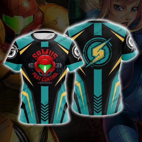 Metroid Samus Aran Green And Golden Cosplay T-Shirt T-Shirt