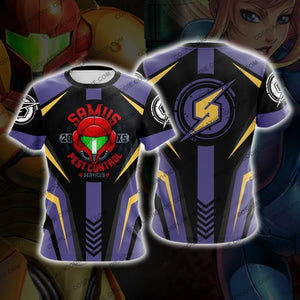 Metroid Samus Aran Purple And Golden Cosplay T-Shirt T-Shirt