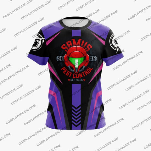Metroid Samus Aran Purple And Pink Cosplay T-Shirt T-Shirt