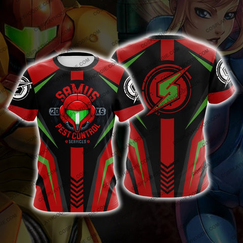 Metroid Samus Aran Red Cosplay T-Shirt T-Shirt