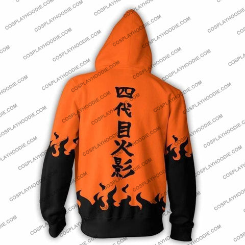 Naruto Namikaze Minato Yondaime Hokage Orange Zip Up Hoodie Jacket Cosplay