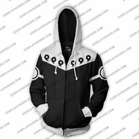Naruto 6 Paths Black Zip Up Hoodie Jacket Cosplay