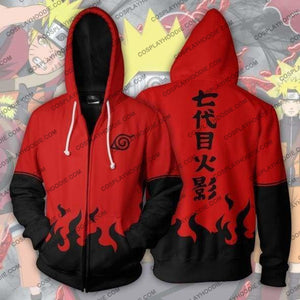 Naruto Uzumaki Boruto Hokage Red Zip Up Hoodie Jacket Cosplay