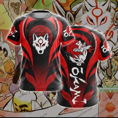 Okami Red And Black T-Shirt T-Shirt