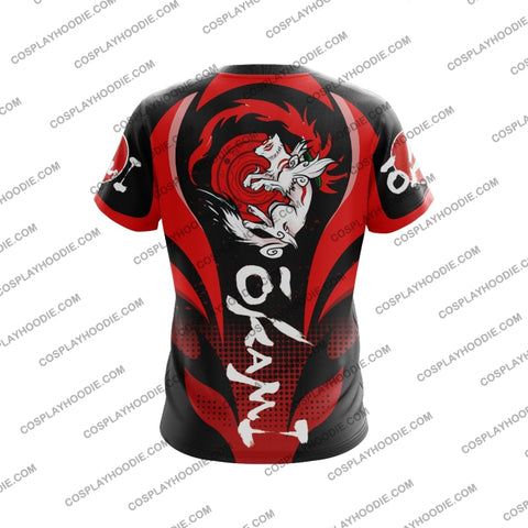 Image of Okami Red And Black T-Shirt T-Shirt