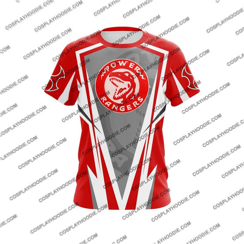 Image of Mighty Morphin Power Rangers Red Cosplay T-Shirt