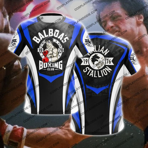 Image of Rocky Balboa Boxing Club Blue Cosplay T-Shirt T-Shirt