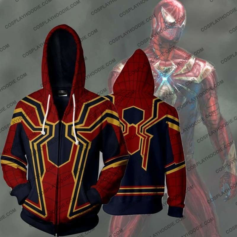Spiderman Homecoming Iron Spider Zip Up Hoodie Jacket Cosplay