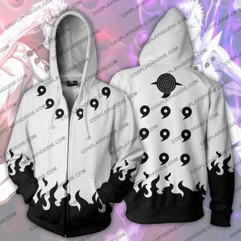 Image of Naruto Six Paths White Uchiha Madara Zip Up Hoodie Jacket Cosplay