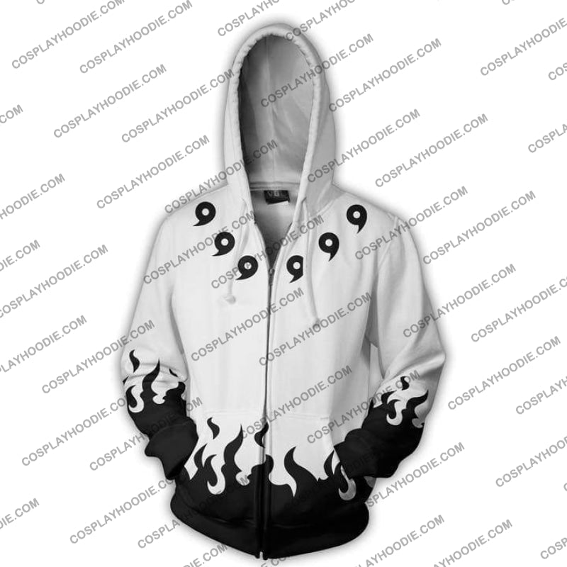 Naruto Six Paths White Uchiha Madara Zip Up Hoodie Jacket Cosplay