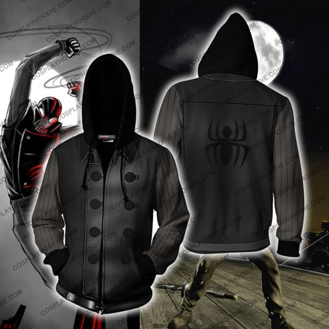 Spider-Man Noir Hoodie Cosplay Jacket Zip Up