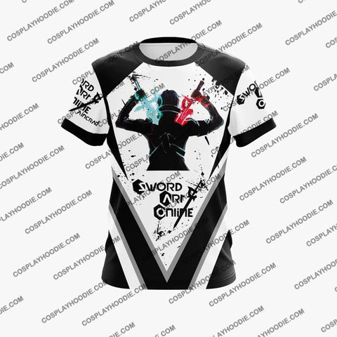 Image of Sword Art Online Krito Black Cosplay T-Shirt S3