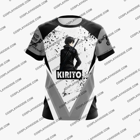 Image of Sword Art Online Krito Black Cosplay T-Shirt S4